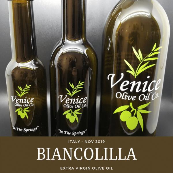 Venice Olive Oil Co. Biancolilla, Italy - Nov. 2019 Extra Virgin Olive Oil shown in different bottle sizes