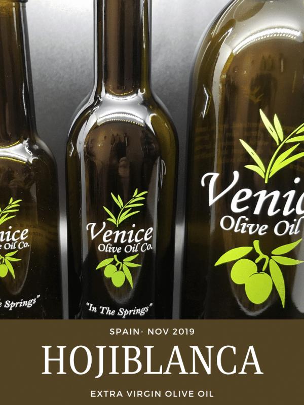 Venice Olive Oil Co. Hojiblanca, Spain - Nov. 2019 Extra Virgin Olive Oil shown in different bottle sizes