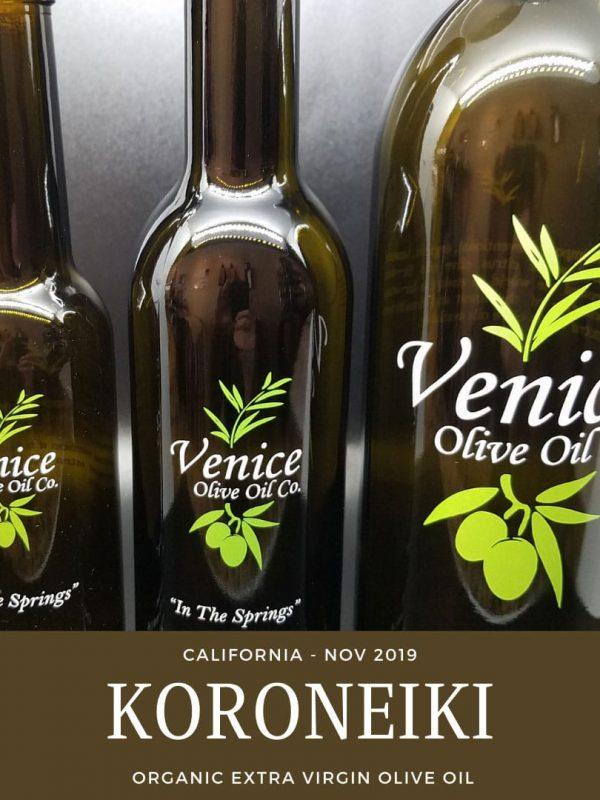 Venice Olive Oil Co. Koroneiki, California - Nov. 2019 Organic Extra Virgin Olive Oil shown in different bottle sizes