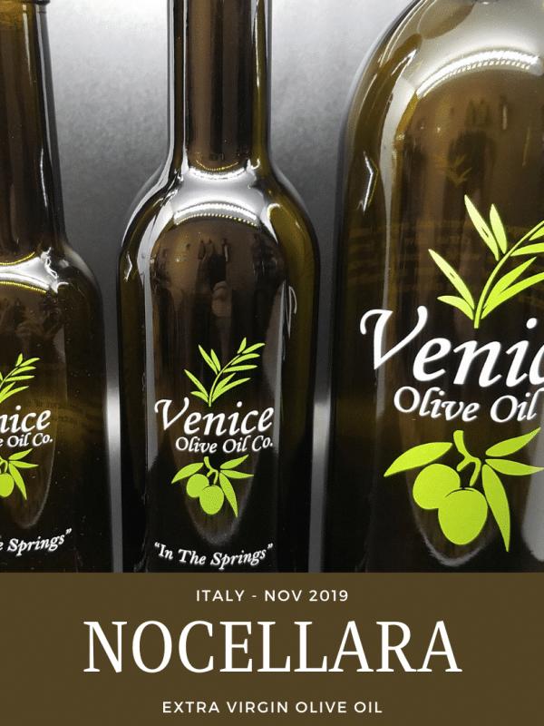 Venice Olive Oil Co. Nocellara, Italy - Nov. 2019 Extra Virgin Olive Oil shown in different bottle sizes