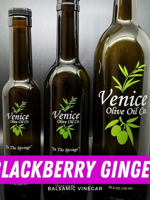 Venice Olive Oil Co. Blackberry Ginger Balsamic Vinegar shown in different bottle sizes