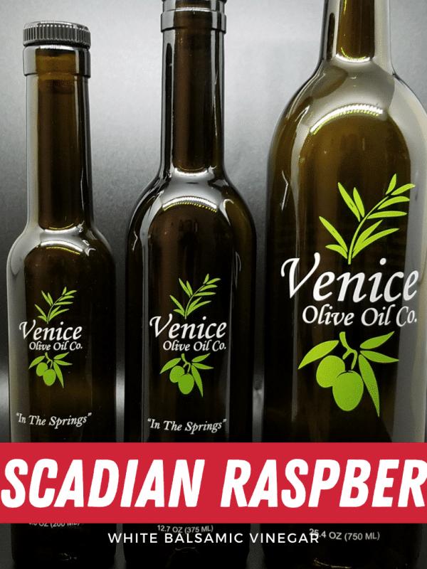Venice Olive Oil Co. Cascadian Raspberry White Balsamic Vinegar shown in different bottle sizes