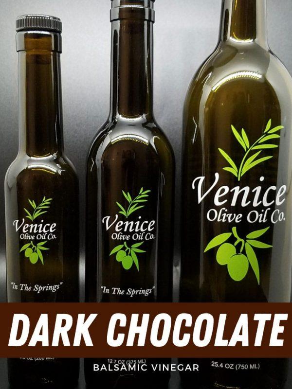 Venice Olive Oil Co. Dark Chocolate Balsamic Vinegar shown in different bottle sizes