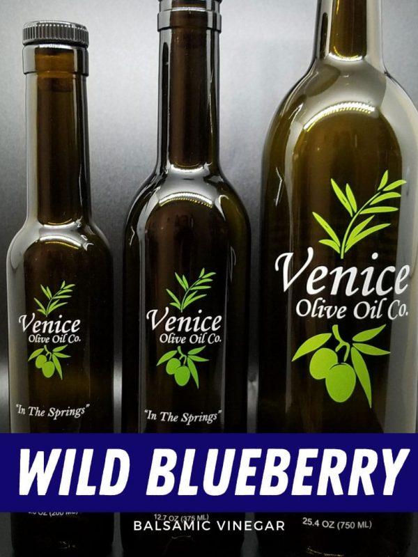 Venice Olive Oil Co. Wild Blueberry Balsamic Vinegar shown in different bottle sizes